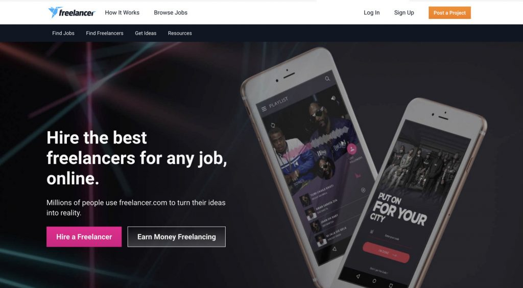 freelancer homepage screenshot