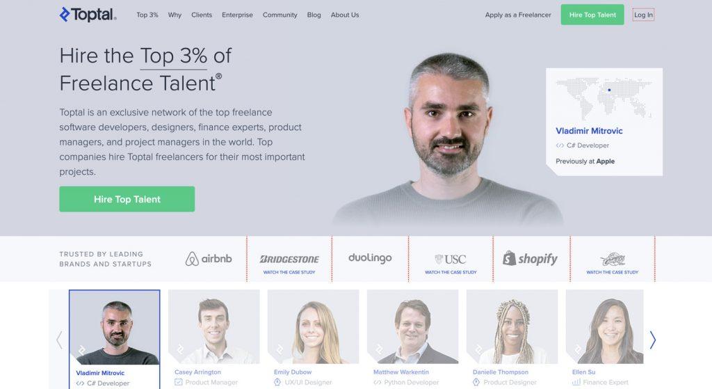 Toptal homepage screenshot